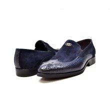 "British Collection ""Shiraz"" Navy Croc Leather and Suede"