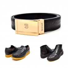 "Matching Belt for Style ""Harlem"" Black Ostrich Leather"