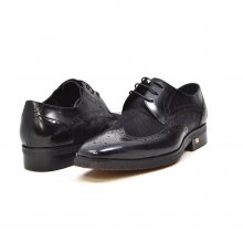 "British Collection ""Charles"" Black Leather and Pony Skin"