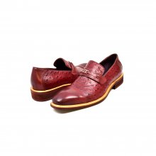 "British Collection ""Dolche"" Burgundy Ostrich Leather"