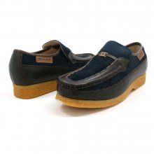 British Collection Power Old School Slip On Navy/Brown Shoes