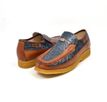 "British Collection ""Harlem"" Blue/Tan Ostrich Leather"