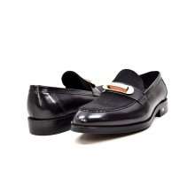 "British Collection ""Boss"" Black Leather and Pony Skin Slip on"