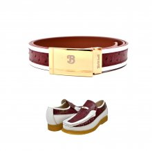 "Matching Belt for Style- ""Harlem"" Burgundy/White Ostrich Leather"