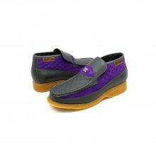 British Collection Checkers-Grey/Purple Leather-Suede Slip-on