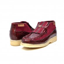 British Collection Apollo Croc-Burgundy Suede and Croc