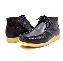 "British Collection""Walkers-Ostrich""-Black and Ostrich Leather"