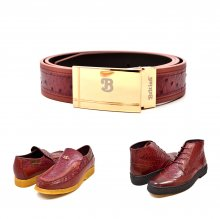 "Matching Belt for Style- ""Harlem"" Burgundy Ostrich Leather"