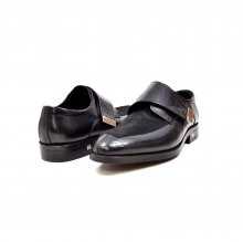 "British Collection ""Master"" Black Leather and Pony Skin Velcro"