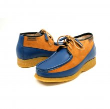 British Collection Knicks Blue and Rust Leather/Suede Slip-on