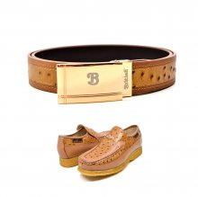"Matching Belt for Style- ""Harlem"" Cognac Ostrich Leather"