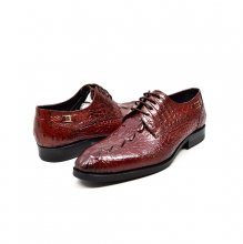 "British Collection ""Elegance"" Burgundy Croc Leather"