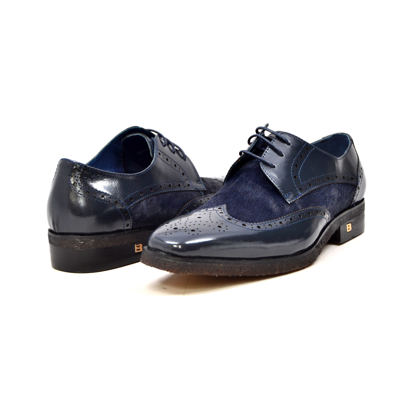 "British Collection ""Charles"" Navy Leather and Pony Skin lace"