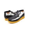 British Collection BWB-Black and White Design  Leather Slip-on