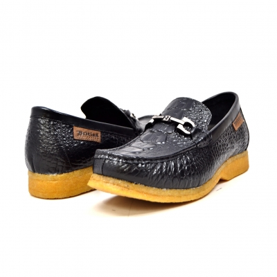 "British Collection ""Chain"" Black Croc Leather"