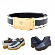 "Matching Belt for Style - ""Harlem"" Navy/White Ostrich Leather"