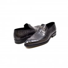 "British Collection ""Shiraz"" Black Croc Leather"