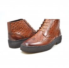 British Collection Cognac Ostrich and Wingtip Leather