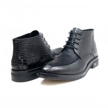British Collection Shick Black Leather and Pony Skin High Top