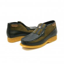 British Collection Apollo-Black Leather and Green/Suede Slip-on