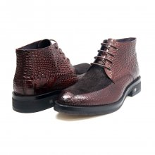 British Collection Shick Brown Leather and Pony Skin High Top