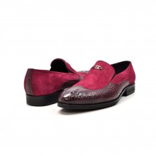 "British Collection ""Shiraz"" Bordo Suede and Croc Combo"
