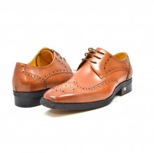 "British Collection ""Charles"" Cognac all Leather Wing- tip"