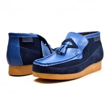 British Collection Classic TPR Blue Leather Slip-on