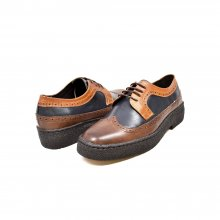 British Collection Wingtip-3 Tone-Navy, Brown, and Tan Leather
