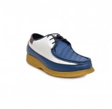 British Collection Crown Low-Cut Blue and White Leather