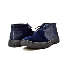 Classic Playboy Chukka Boot Two Tone Navy Suede and Pony Skin