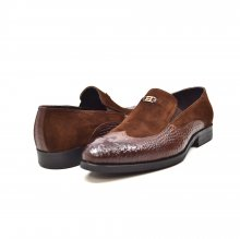 "British Collection ""Shiraz"" Brown Croc Leather and Suede"