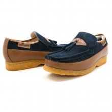 British Collection King Old School Slip On Navy/Tan Shoes
