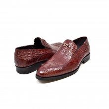 "British Collection ""Shiraz"" Bordeaux Croc Leather"