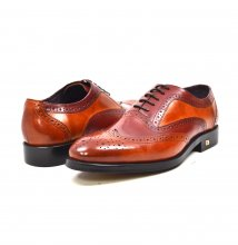 "British Collection ""Adam"" Two Tone Burgundy and Cognac Leather"