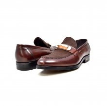"British Collection ""Boss"" Brown Leather and Pony Skin Slip on"