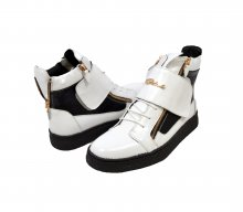 "British Collection ""Empire"" White and Black Leather High Top"