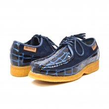 British Collection Crown Croc-Blue Suede and Croc