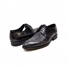 "British Collection ""Elegance"" Black Croc Leather"