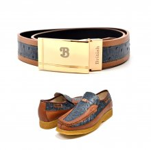 "Matching Belt for Style - ""Harlem"" Cognac/Blue Ostrich Leather"