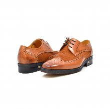 "British Collection ""Charles"" Cognac Leather and Pony Skin lace"