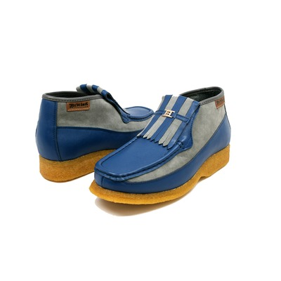 British Collection Apollo-Blue Leather/Grey Suede Slip-on