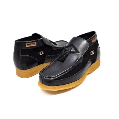 British Collection Palace Black Leather and Suede Slip-on