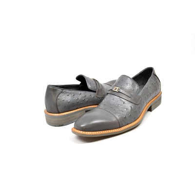 "British Collection ""Dolche"" Gray Ostrich Leather"
