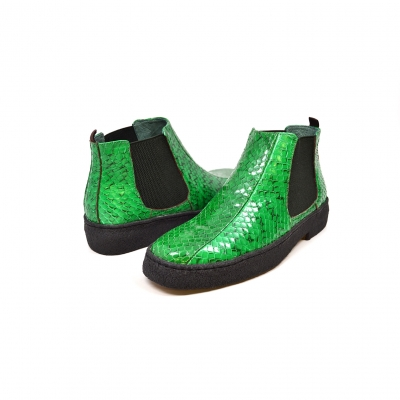 "British Collection ""Soho"" Green Snake Skin Leather"