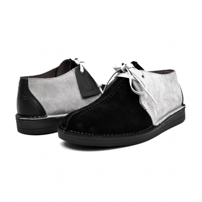 "British Collection ""Kingston,"" Black and Grey Suede Split-Toe"