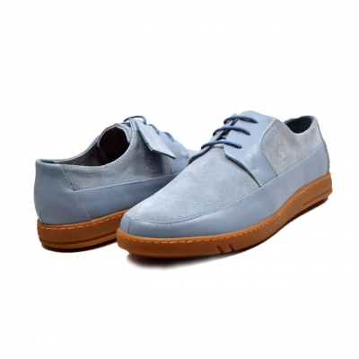 "British Collection ""Westminster"" Sky Blue Leather and Suede"